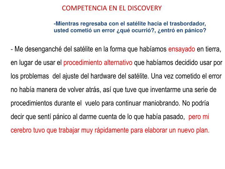 COMPETENCIA EN EL DISCOVERY