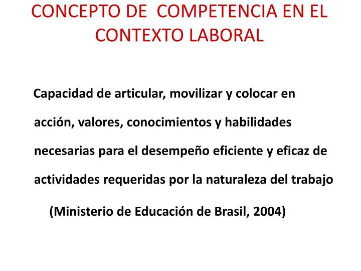 CONCEPTO DE  COMPETENCIA EN EL CONTEXTO LABORAL