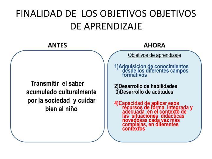 FINALIDAD DE  LOS OBJETIVOS