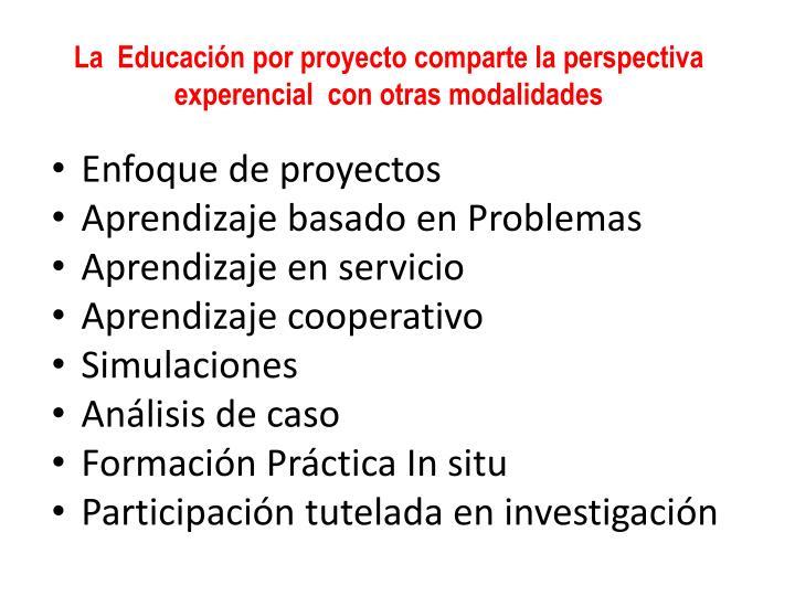 La  Educación por proyecto comparte la perspectiva