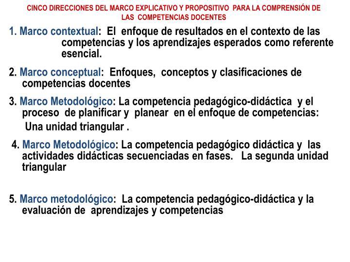 CINCO DIRECCIONES DEL MARCO EXPLICATIVO Y PROPOSITIVO  PARA LA COMPRENSIÓN DE  LAS  COMPETENCIAS DOCENTES