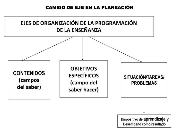 EJES DE ORGANIZACIÓN DE LA PROGRAMACIÓN