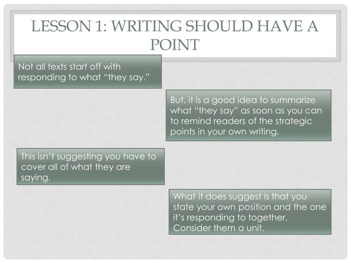 Lesson 1: Writing should have a point