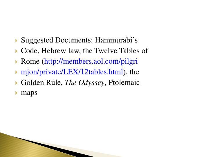 Suggested Documents: Hammurabi's