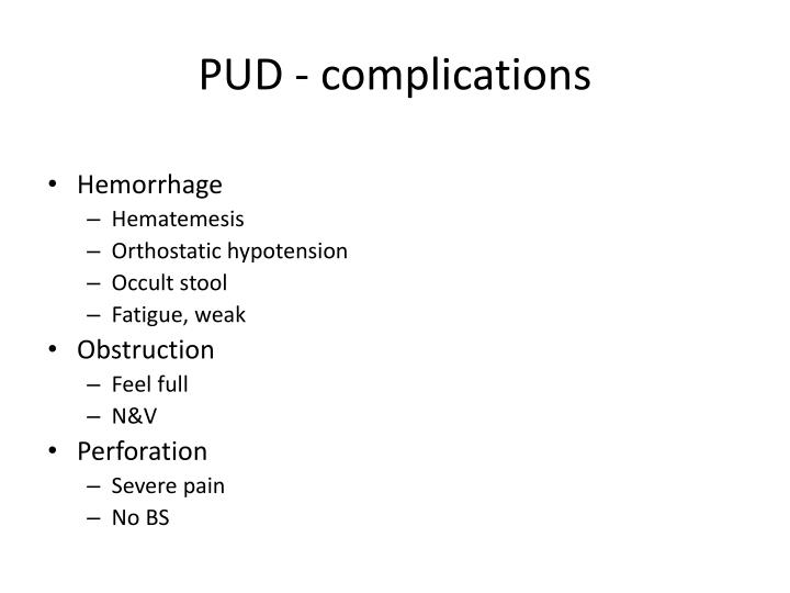 PUD - complications