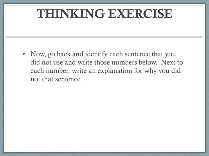THINKING EXERCISE