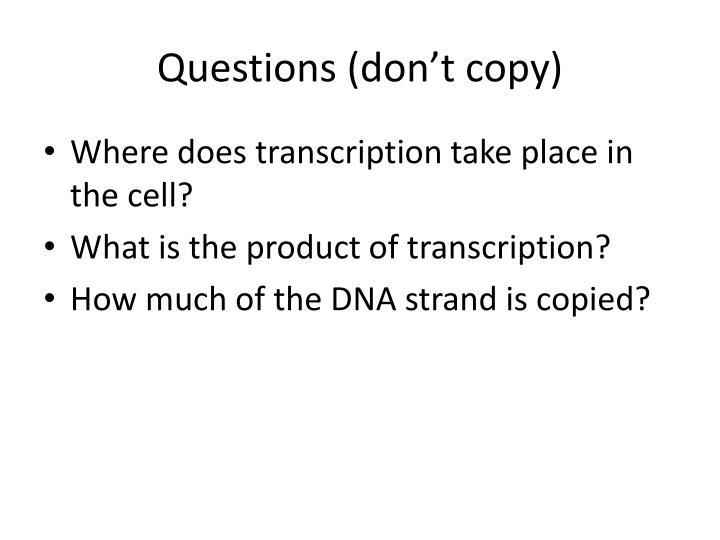 Questions (don't copy)