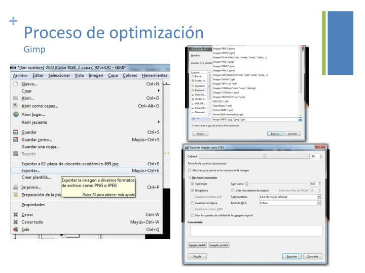 Proceso de optimización