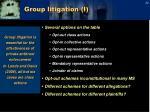 group litigation i