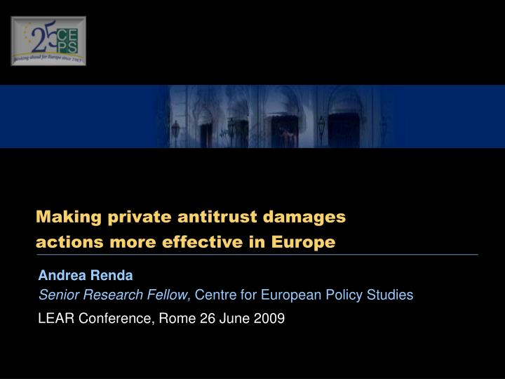 Making private antitrust damages actions more effective in Europe