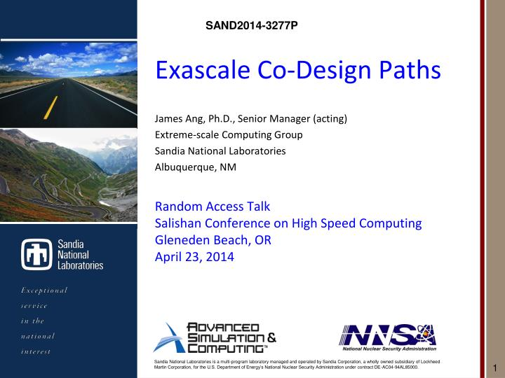 Exascale co design paths