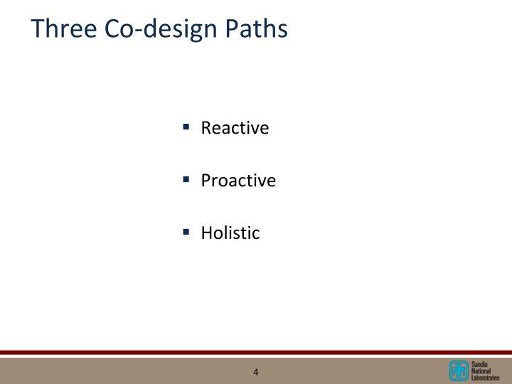 Three Co-design Paths