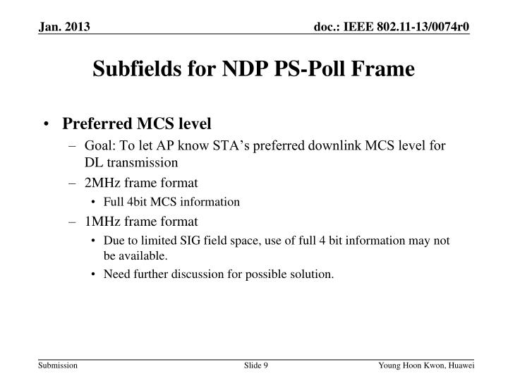Subfields for NDP PS-Poll Frame