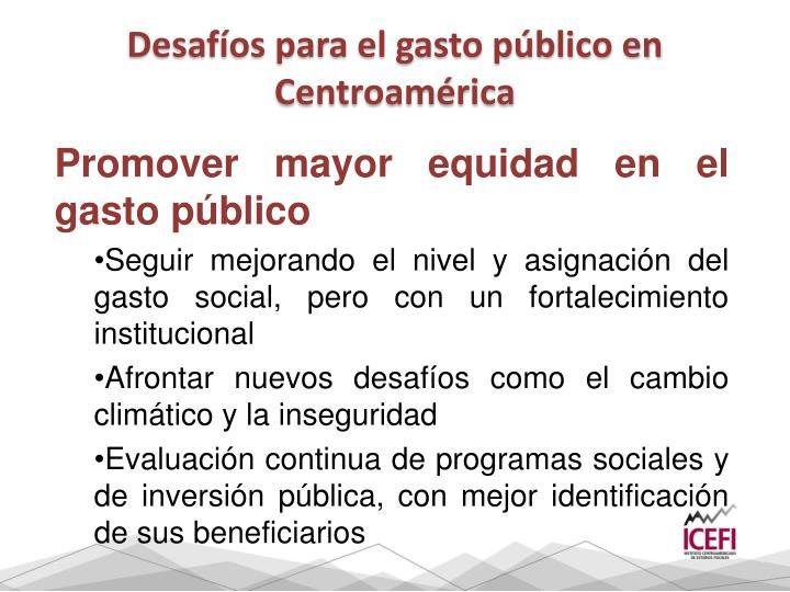 Desafíos para el gasto público en Centroamérica