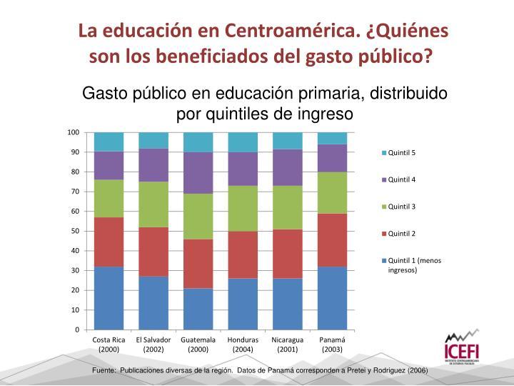 La educación en Centroamérica. ¿Quiénes son los beneficiados del gasto público?