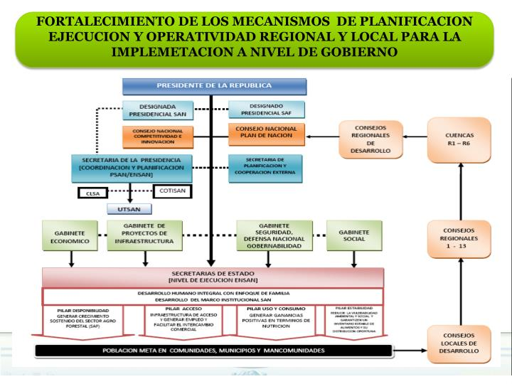 FORTALECIMIENTO DE LOS MECANISMOS  DE PLANIFICACION  EJECUCION Y OPERATIVIDAD REGIONAL Y LOCAL PARA LA IMPLEMETACION A NIVEL DE GOBIERNO
