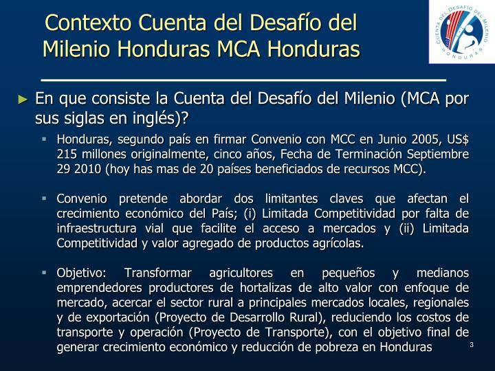 Contexto Cuenta del Desafío del Milenio Honduras MCA Honduras