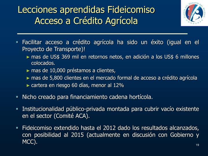 Lecciones aprendidas Fideicomiso Acceso a Crédito Agrícola