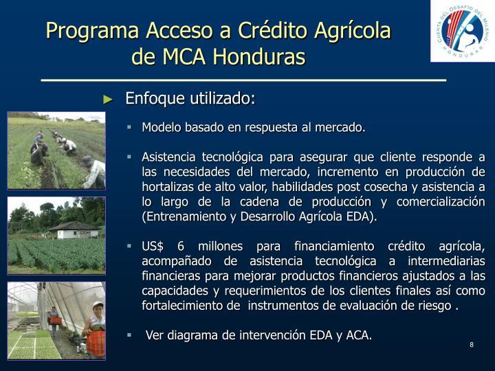 Programa Acceso a Crédito Agrícola de MCA Honduras