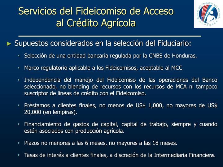 Servicios del Fideicomiso de Acceso al Crédito Agrícola
