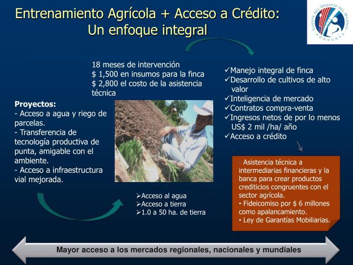 Entrenamiento Agrícola + Acceso a Crédito: