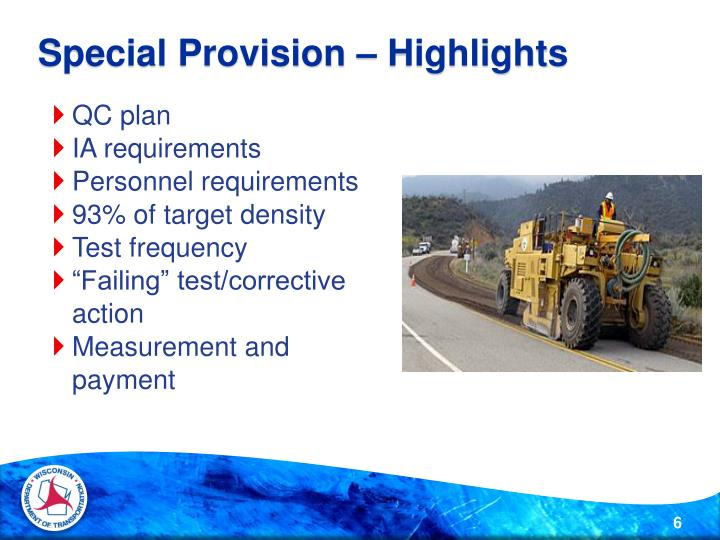 Special Provision – Highlights
