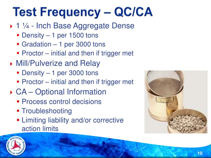 Test Frequency – QC/CA