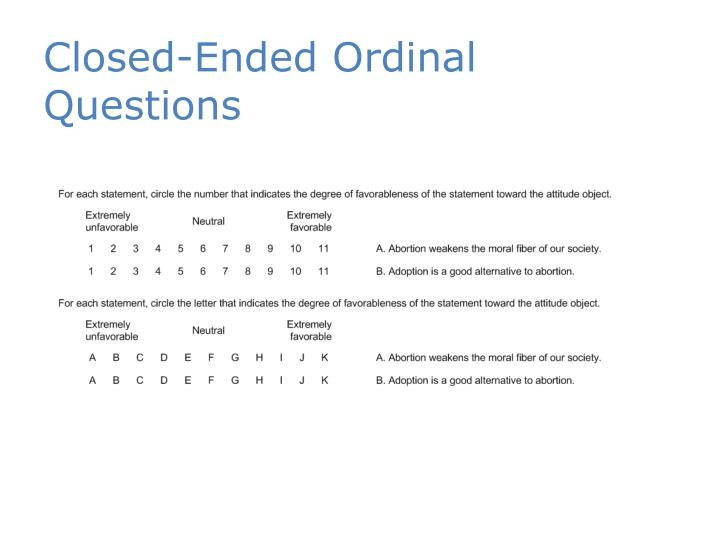 Closed-Ended Ordinal Questions