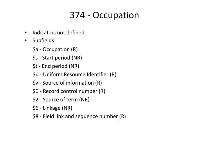 374 - Occupation
