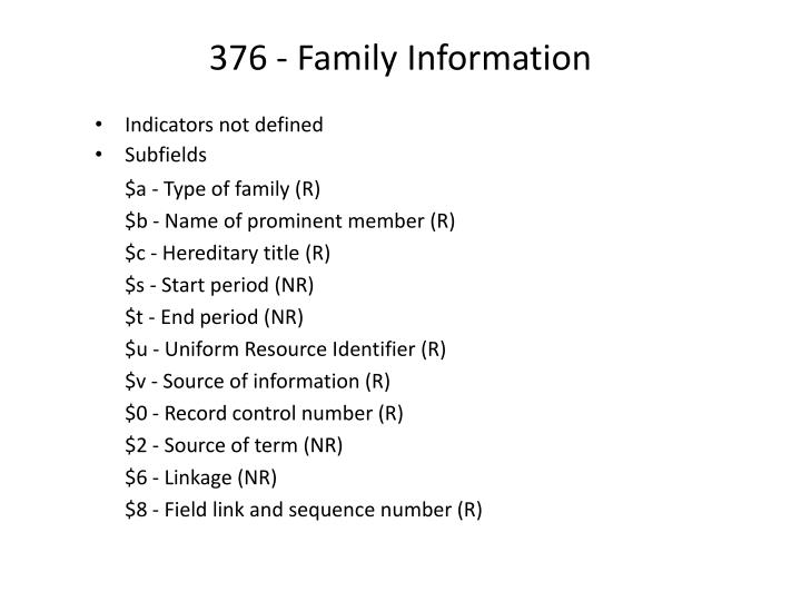 376 - Family Information