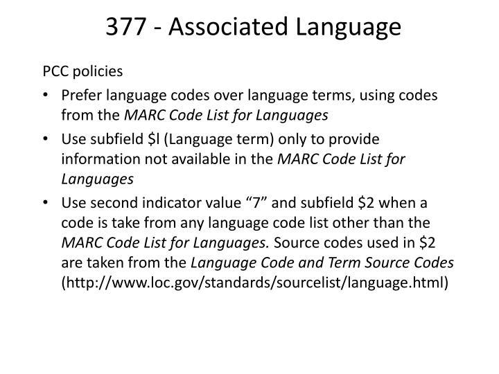 377 - Associated Language