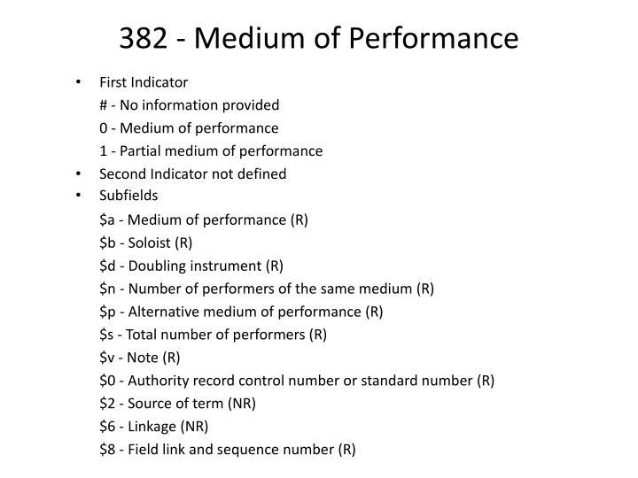 382 - Medium of Performance