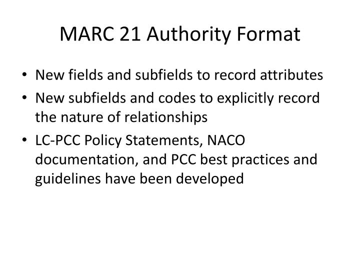 MARC 21 Authority Format