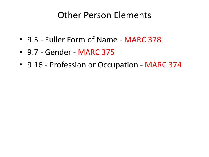 Other Person Elements