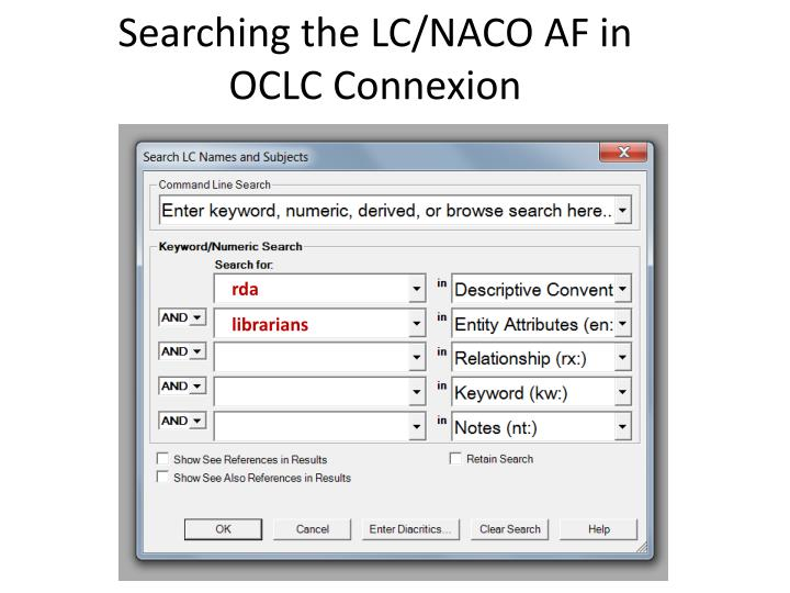 Searching the LC/NACO AF in OCLC