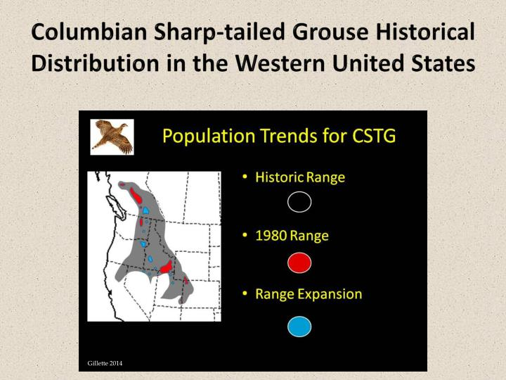 Columbian sharp tailed grouse historical distribution in the western united states
