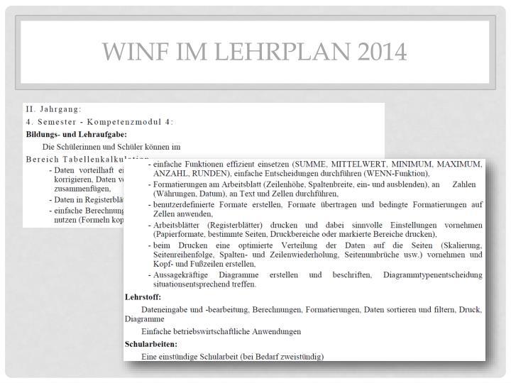 WINF im Lehrplan 2014