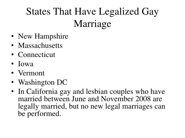 States t hat have legalized gay marriage