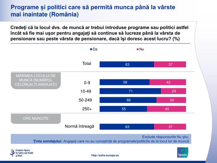 Programe și politici care să permită munca până la vârste mai inaintate (România)