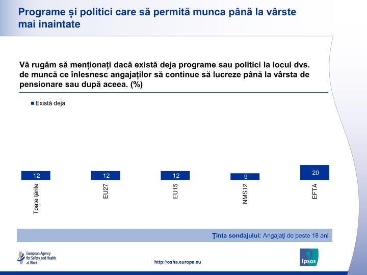 Programe și politici care să permită munca până la vârste mai inaintate