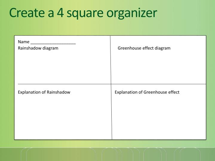 Create a 4 square organizer