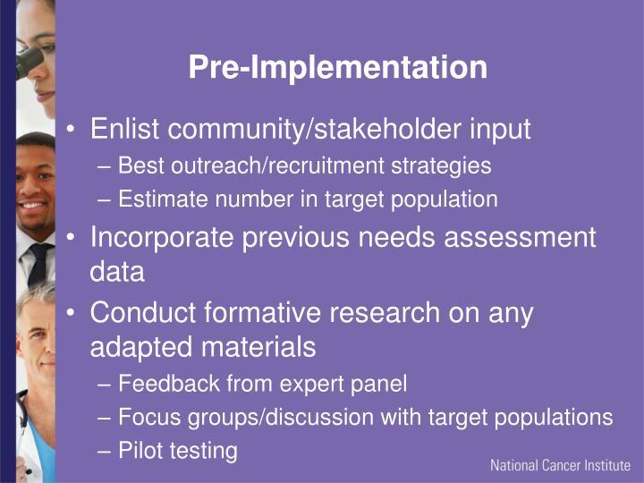 Pre-Implementation