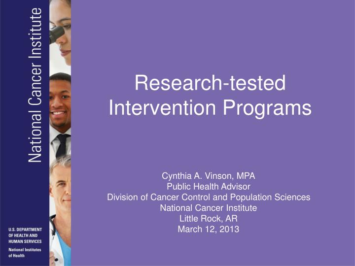 Research-tested Intervention Programs