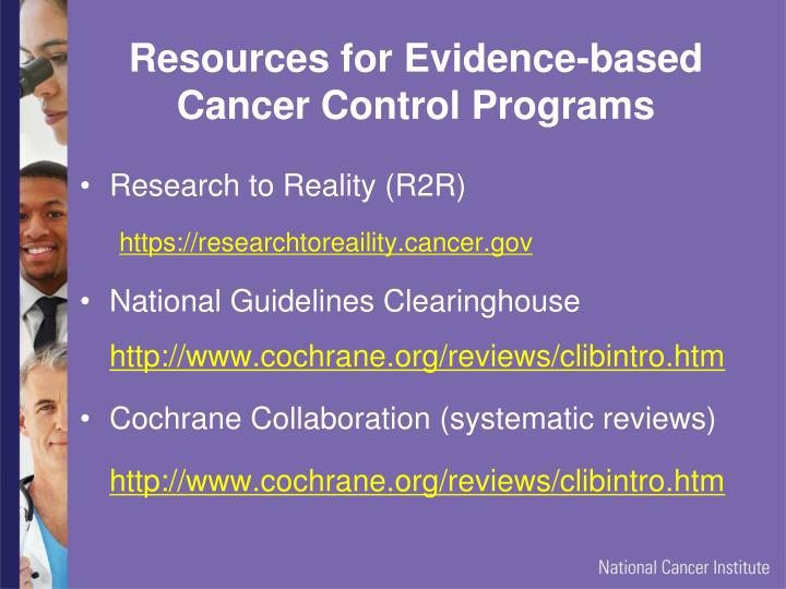 Resources for Evidence-based Cancer Control Programs