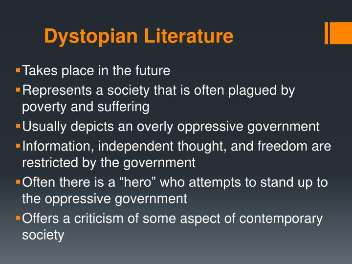 dystopian literature often presents the individual's Expressionists generally believed that an individual's thoughts and presents a dystopian vision of the future in which the in literature , expressionism.