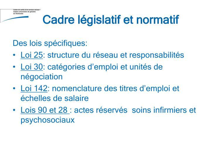 Cadre législatif et normatif