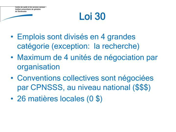 Loi 30