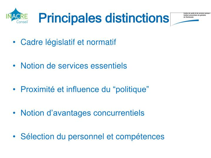 Principales distinctions