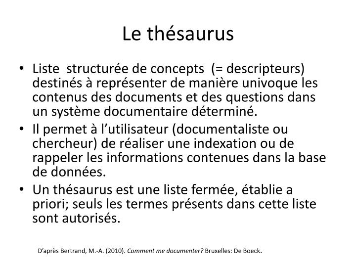 Le thésaurus