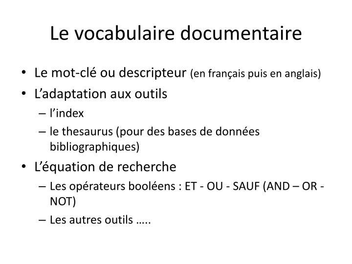 Le vocabulaire documentaire